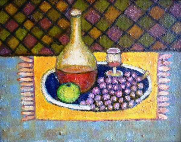 Norman Bray Modern British Still Life with Wine and Grapes